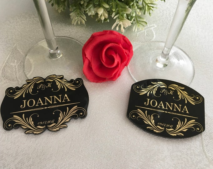 Black and Gold Foil Personalized Wedding Name Place Cards Escort Seating Paper Table setting Guest Names Engraved Save the Date Initials