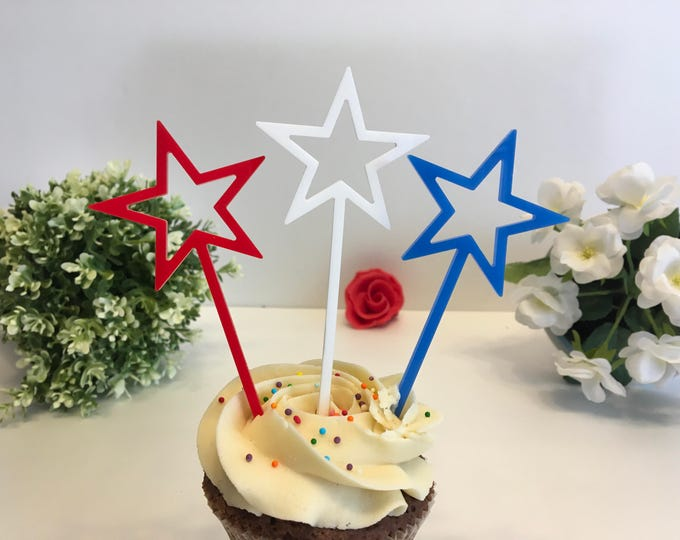4th of July Flags Memorial Day Party Decorations Cupcake Picks American Patriotic Stars USA Independence day Stars on sticks Red Blue White