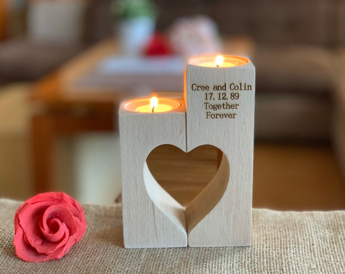 Personalized Engraved Wooden Candle Holder Wood Decorative Tealight Wedding Gift Custom Name Couple Family Save the Date Custom Rustic Decor