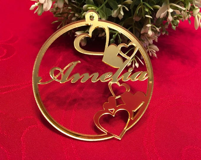 Love Heart Bauble Personalized Valentines Day Ornaments Gold Heart Decorations Gift for Her Laser Cut Acrylic Hearts Custom Name Baubles
