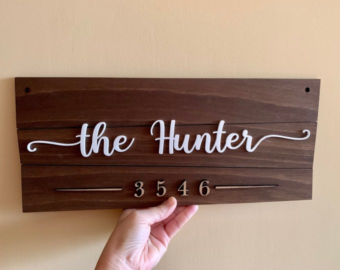 Personalized Family Name & House Number Sign, Custom Wood Sign, Home Number Plaque, Street Name Address, Outdoor Rustic Wall Art Door Hanger