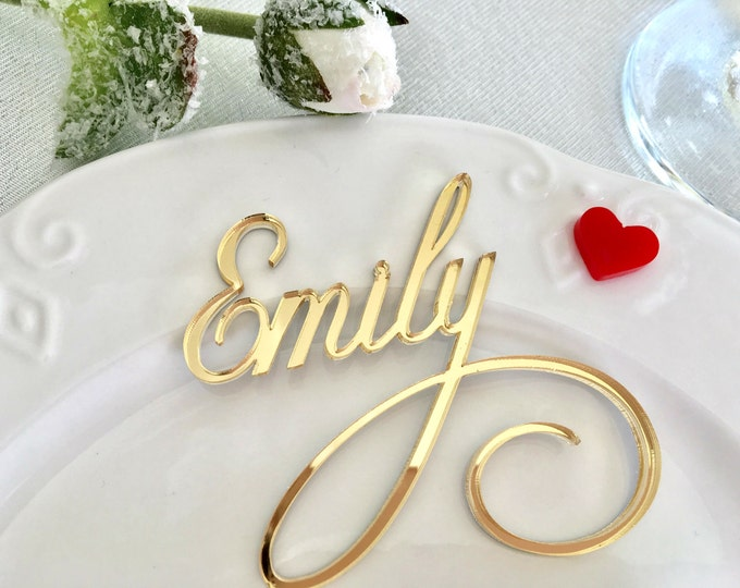 Gold Mirror Laser Cut Names Personalized Wedding Place Cards Guest Names Wedding centerpiece Wedding table cards Table settings Dinner party