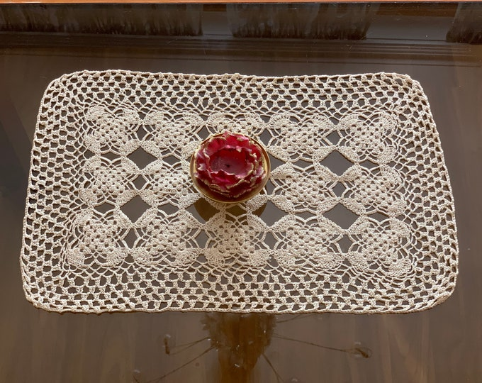 Handmade Doily Crochet Vintage Rectangle Tablecloth Table Topper Centerpiece Hand Crocheted Beige Lace Doilies Coffee Placemat Dining Table