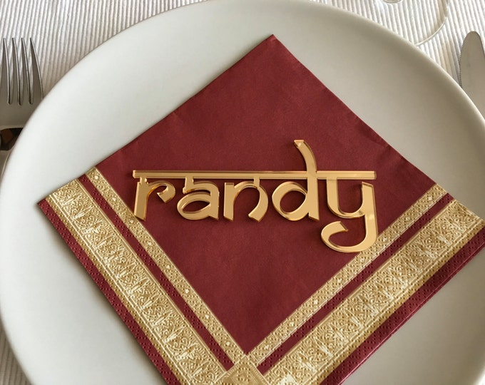Namaste decor Yoga place cards Laser cut names Wedding table place Personalized reception cards Modern Nepali font Namaste sign Guest names