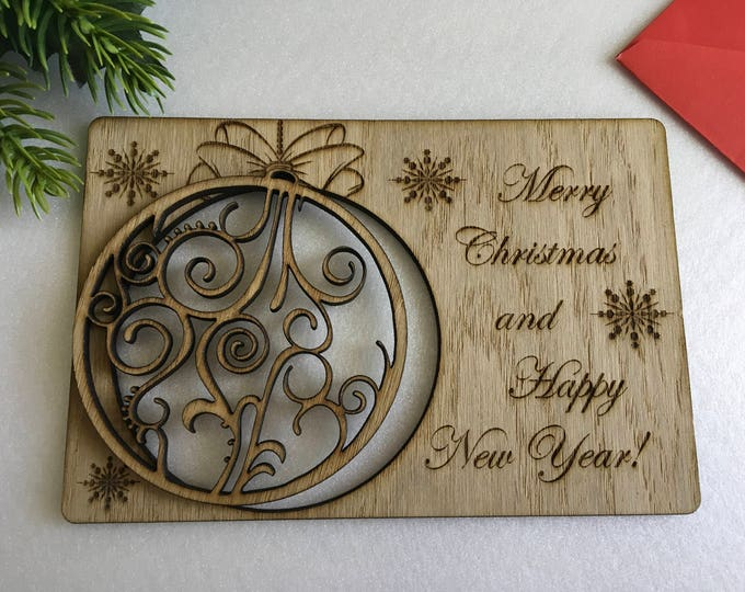 Custom Christmas Holiday Wood Cards Personalized Greeting Engraved Card Your Text Here Happy New Year Keepsake Gift Xmas Wooden Ornament