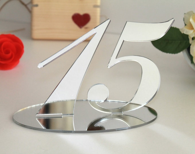 Silver mirrored table numbers Wedding signs Table decor Anniversary number Silver numbers stands Acrylic wedding table number holders, 5.0""