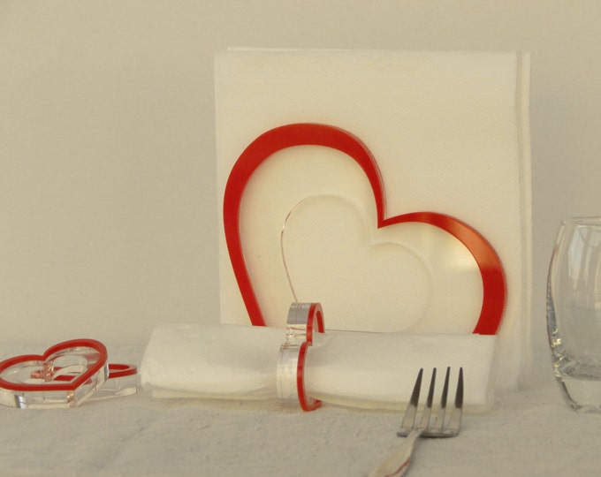 Set of One Napkin Holder 6 Red Heart Napkin Rings Valentines Gift for Mom Valentines Decor Gift for Her Red Hearts Cloth Table Decorations