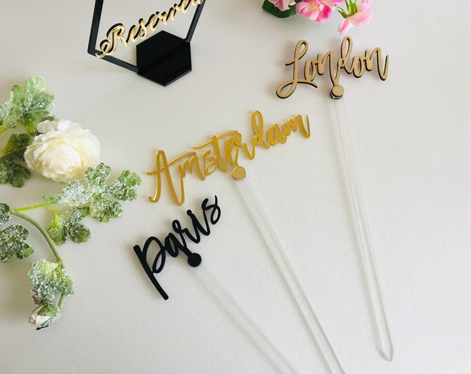 Custom Table City on Clear Stick Big Acrylic Wedding Table Numbers Event Personalized Wedding Cities Custom Name Table Topper 14 inches Tall