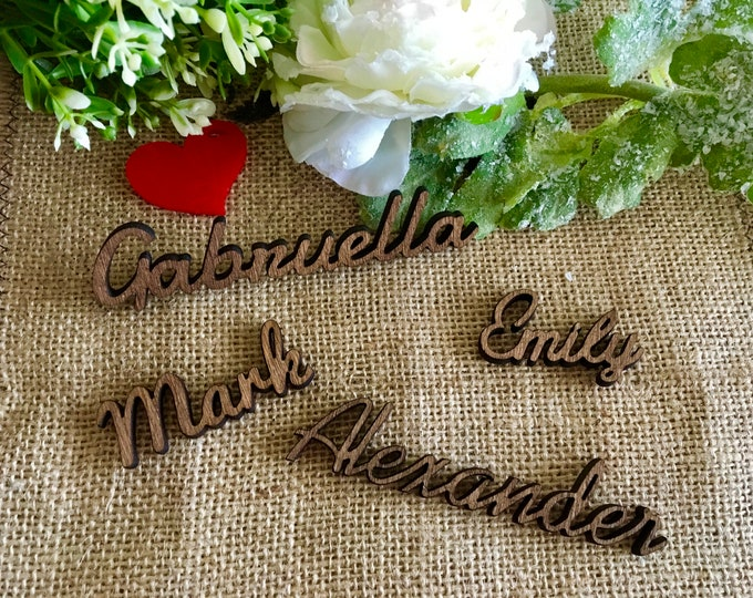 Wooden Place Cards Wood Calligraphy Plate Names Personalized Laser Cut Names Place Name Vintage Setting Custom Boho Wedding Signs Rustic Tag