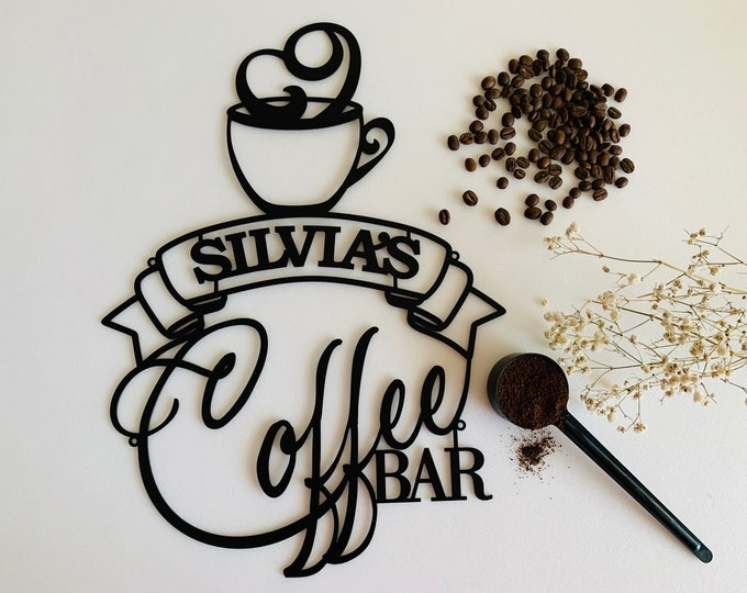 Personalized Coffee Bar Metal Name Sign Custom Laser Cut Cup Housewarming Gift Mom, Grandma Coffee Lover Wall Art Decor Acrylic Kitchen Sign