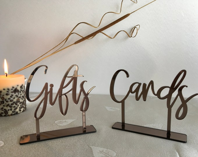 Cards and Gifts Table Sign Freestanding Calligraphy Personalized Wedding Laser Cut Signs Custom Acrylic Reception Elegant Event Party Decor