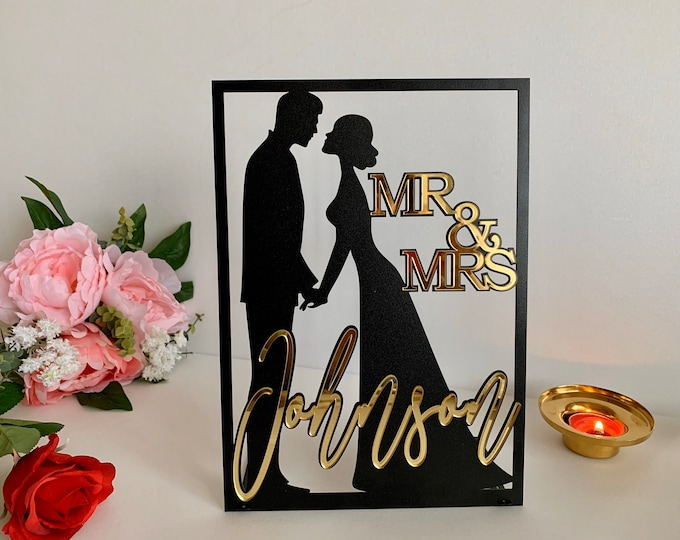 Mr & Mrs Sign Custom Wedding Last Name Signs Personalized Bride Groom Silhouette Top Table Decor Freestanding Sweetheart Table Centerpieces