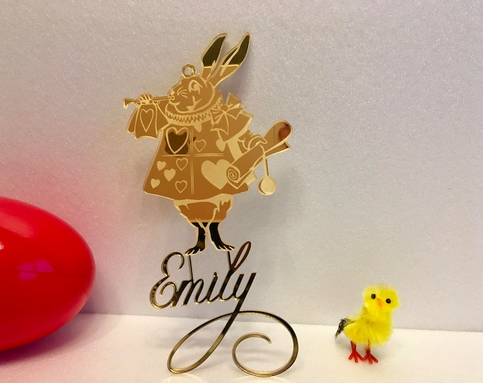 Alice In Wonderland Personalized Name Ornament Hanging Laser Cut Names Custom Design Disney Bunny  Acrylic Easter Decorations Gift for Kids
