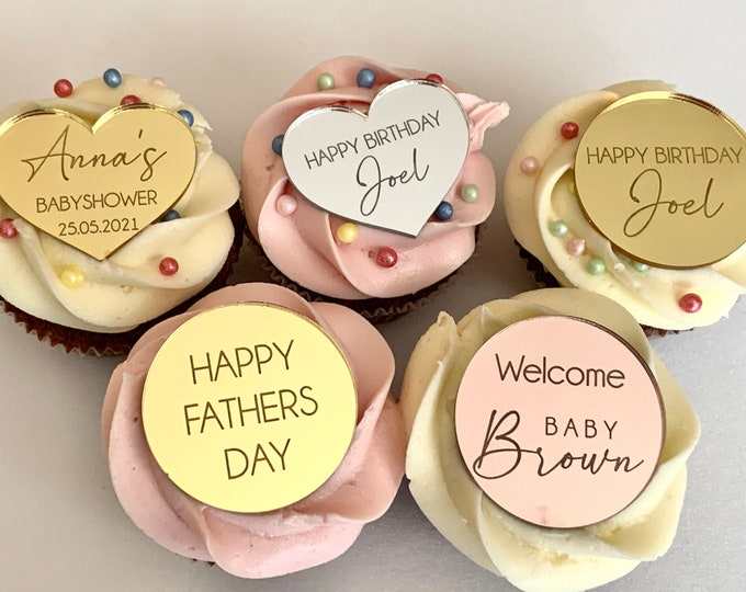 Personalized Name Acrylic Cake Disks Mini Custom Cupcake Toppers, Cake Charms Decor Engraved Mirror Shape Birthday Tag Photo Prop, Any Text