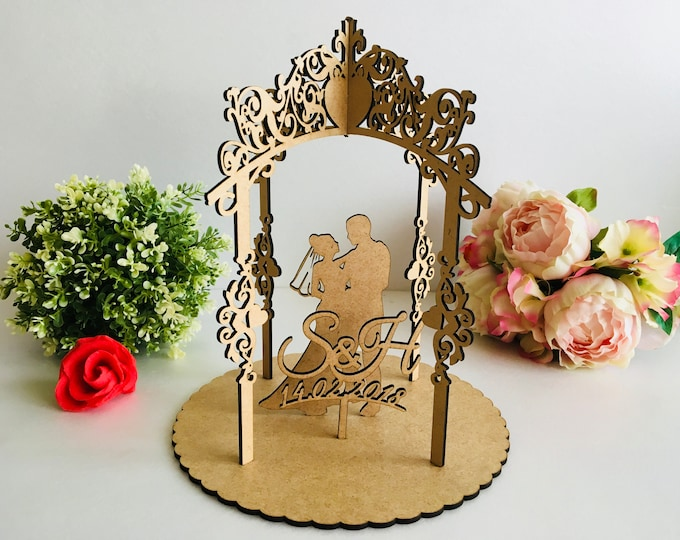 Personalized Wood Arch Wedding Ceremony Table Decor Laser Cut Bride Groom Silhouette Custom Initials Est Date Year Rustic Cake Topper Mr Mrs