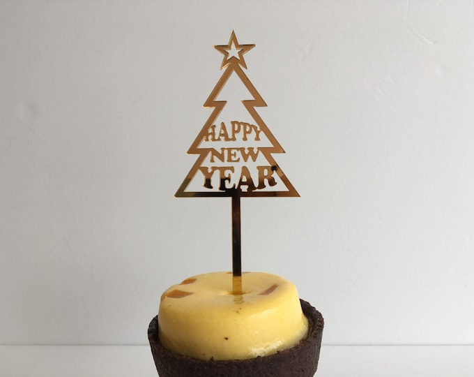 Personalized Christmas Tree Ornament Custom Cake Topper Happy New Year Small New Year Gift Celebration 2022 Party decorations New Year's Eve