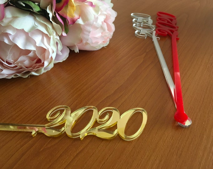 Happy New Year 2020 Celebration Party Decorations Drink Stirrers Personalized Holiday Swizzle Stir Sticks New Year's Eve Tag Cupcake Toppers