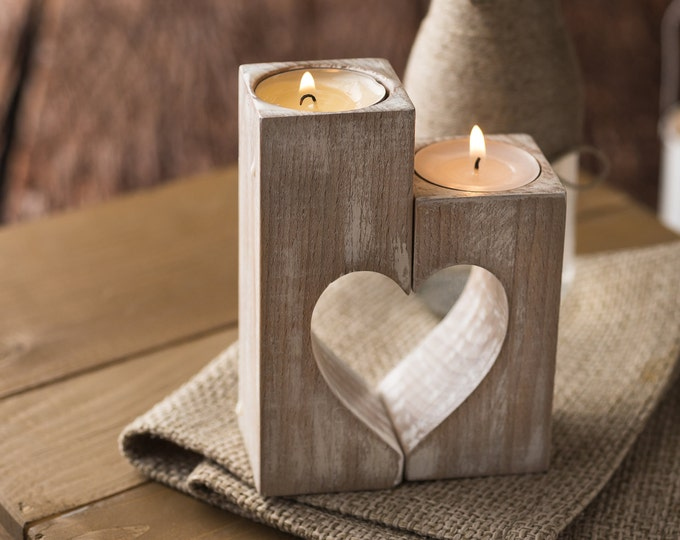 Wood candle holders Christmas gift for her Valentines day Rustic Wooden heart Decorative tealight candles Wedding gift idea Home decorations