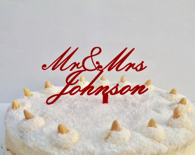 Mr & Mrs Personalized Name Wedding Cake Topper Custom Family Names Personalised Mr And Mrs Toppers Party Favor Decorations Event Special Day