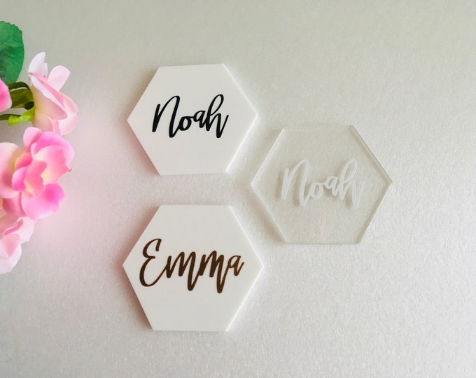 Hexagon Acrylic Place Cards Personalized Geometric Wedding Signs Escort Cards Custom Name Tags Place settings Calligraphy Names Event Decor