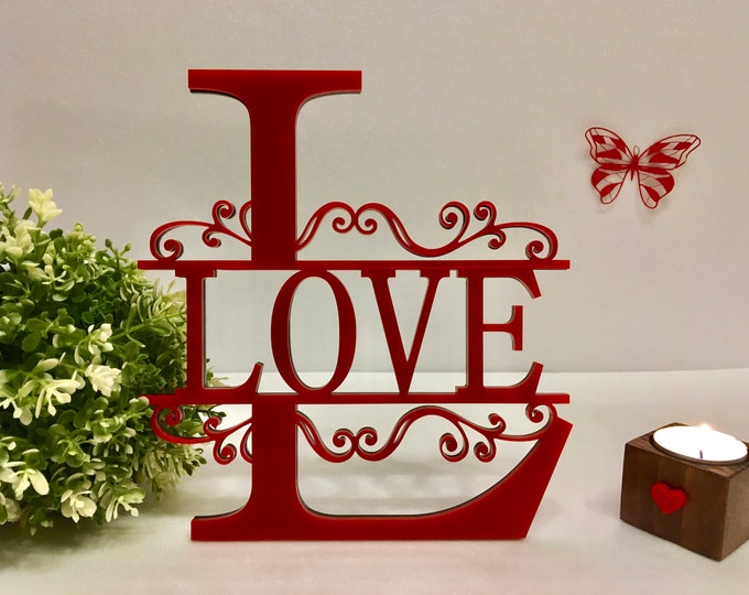 Love Custom Name Signs Personalized Initial Split Letter L Valentines Day Gifts Home Decor Door Hanging Wall Monogram Wreath Acrylic Metal