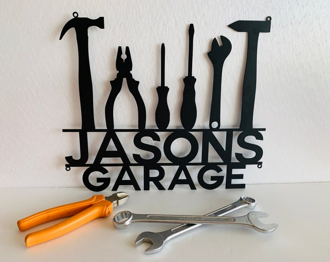 """14"""" Personalized Metal Garage Sign Custom Name Garage Location Metal Wall Art Housewarming Plaque Decor Man Cave Dad's Gift for Mechanic"""
