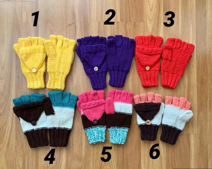Convertible Gloves Hand Knit Fingerless Gloves for Kids Knitted Gloves Convertible Mittens Winter Color Fingerless Mitten Kids Hand Warmers