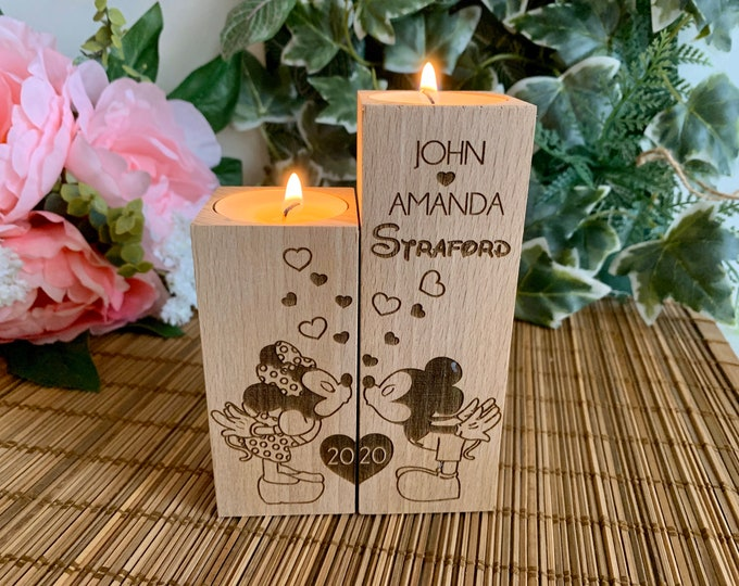 Custom Disney Mickey and Minnie Mouse Wooden Candle Holders Personalized Engraved Wedding Gift Love Heart Valentines Gift Wood Home Decor