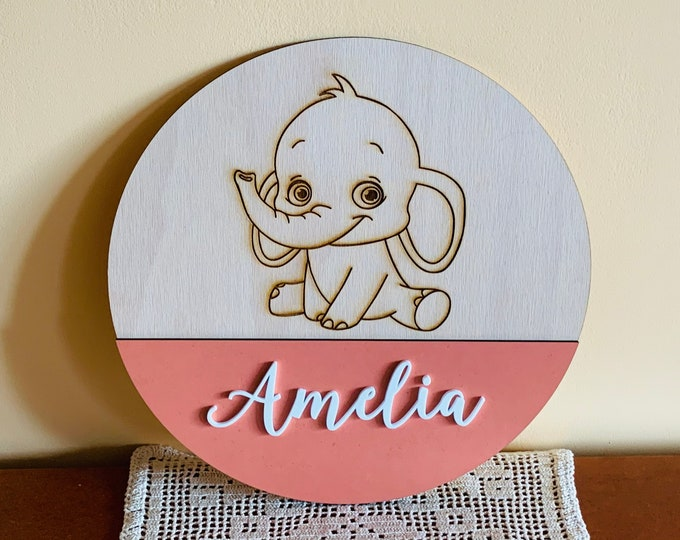 Personalized Baby Girl | Boy Name Sign Custom Nursery Elephant 3D Wood Round Plaque Pink Wall Hanging Baby Shower Gift Kids Room Above Crib