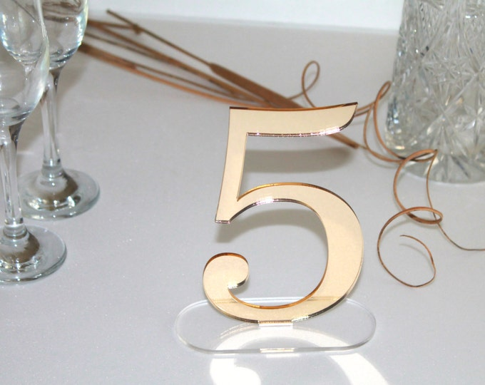 Gold mirror table freestanding numbers Wedding centrepiece Wedding sign Reception Engagement party Laser cut acrylic numbers Clear base 6""