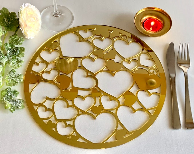 Wedding Charger Plate Mirrored Acrylic Round Placemat Table Decor Laser Cut Placemat Anniversary Placemat Modern Heart Charger Wood Placemat