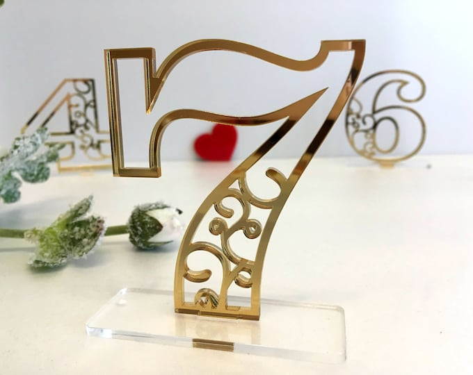 Wedding Table Numbers Elegant Laser Cut Table Centerpiece Reception Party Decor Event Acrylic Freestanding Numbers Clear Base Wedding Signs