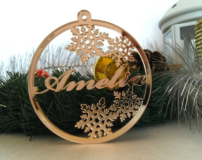 Personalized Christmas Name Ornaments Holiday Tree Decorations Christmas Family Gifts Gold Name Tags Xmas Decor Laser Cut Name Bauble Custom