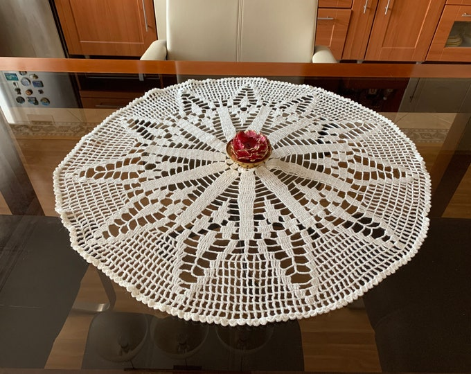 Handmade Round Large White Doily Crochet Lace Cotton Tablecloth Home Decoration Doilies Wedding Centerpiece Hand Crocheted Lace Gift for Mom