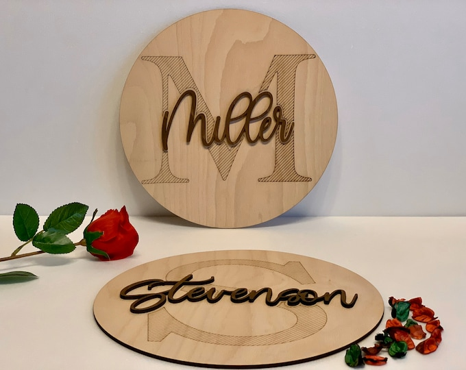 Personalized Wood Monogram Name Sign Custom Last Name Round Sign Engraved Split Letter Family Signs Wedding Anniversary Gift Wall Art Decor