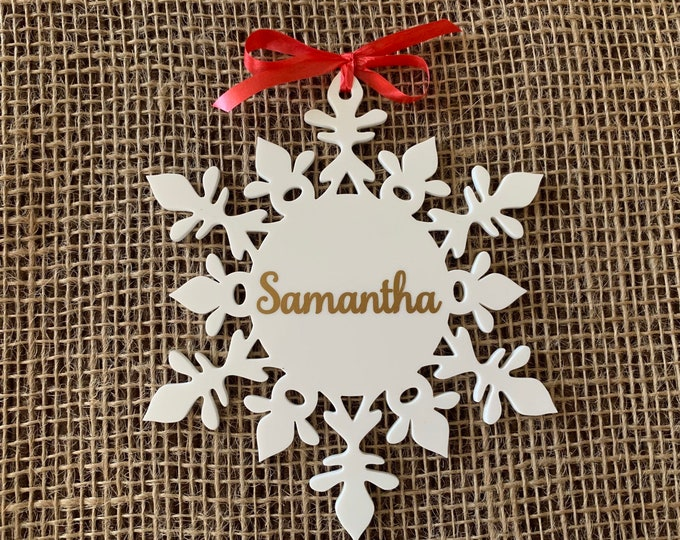 Personalized White Name Ornaments Custom Hanging Snowflakes Christmas Tree Decorations Xmas Decor Holiday Gifts for Family Custom Names 2019