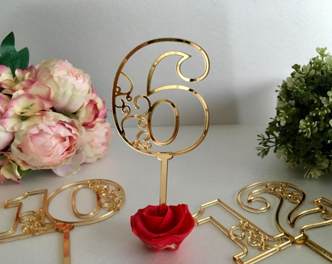 Wedding acrylic gold mirror table numbers on sticks Wedding table signs Seating plan Table numbers for flowers arrangement Table centerpiece
