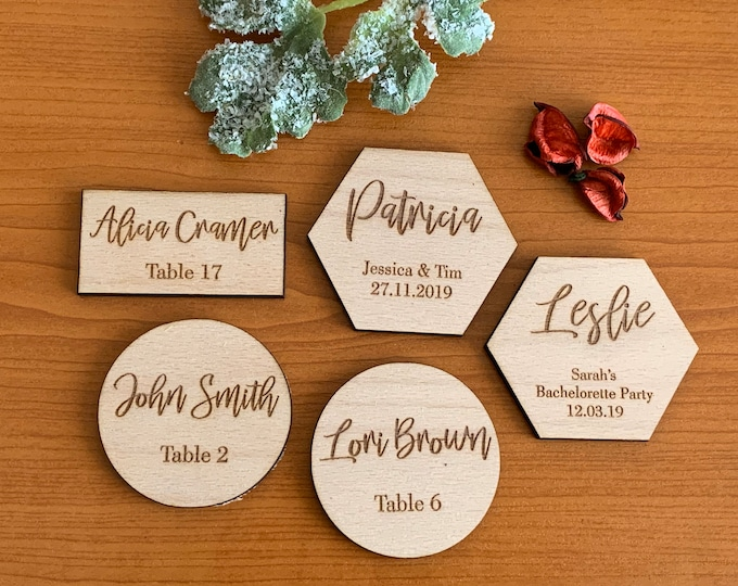 Personalized Engraved Wood Place Cards Geometric Place Name Settings Wooden Custom Table Names Boho Wedding Escort Card Hexagon Round Shapes