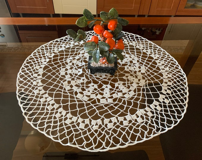 Large White Doily Crochet Round Tablecloth Lace Handmade Doilies Housewarming Gift for Mom Table Decoration Tableware Centerpiece Home decor