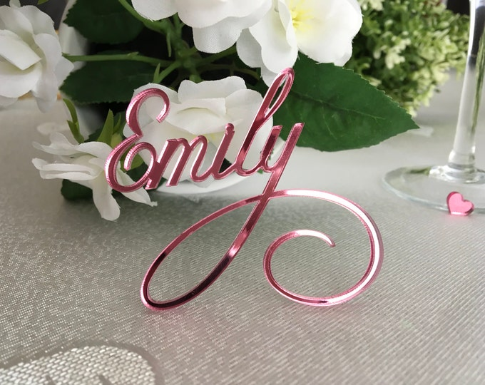Mirror pink Laser cut names Personalized wedding Acrylic place setting Wedding place cards Guest names Pink wedding signs Custom table names