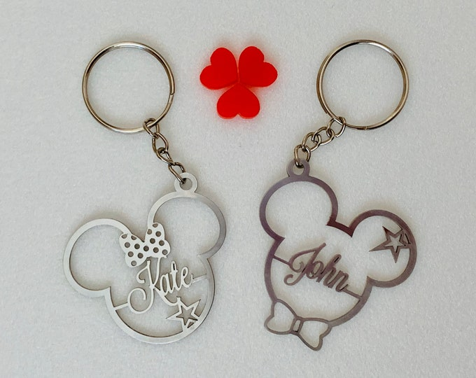 Personalized Mickey Mouse Keychain Minnie Mouse Keyring Disney Charm Custom Name Gifts Stainless Steel Key chain Cartoon Theme Gift for Kids