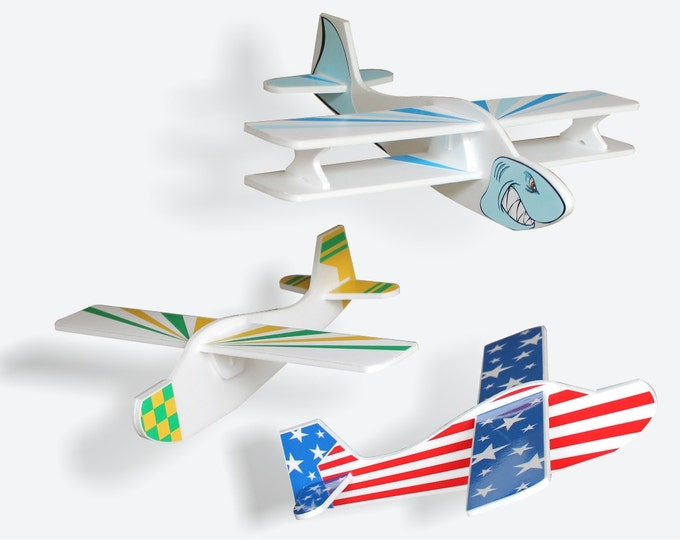 Model Airplane toy Set of 3 Foam gliders Funny outdoor game Handmade toys Flying aeroplane Aircraft Kids airplane Birthday Gift Party Decor