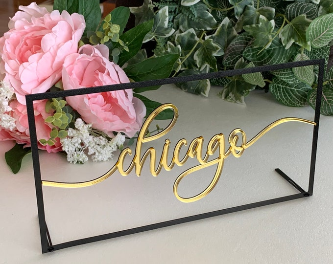 NEW Table City Signs Wedding Table Numbers Custom Table Script Names Personalized Cities Tag Holders Laser Cut Table Decorations Reception