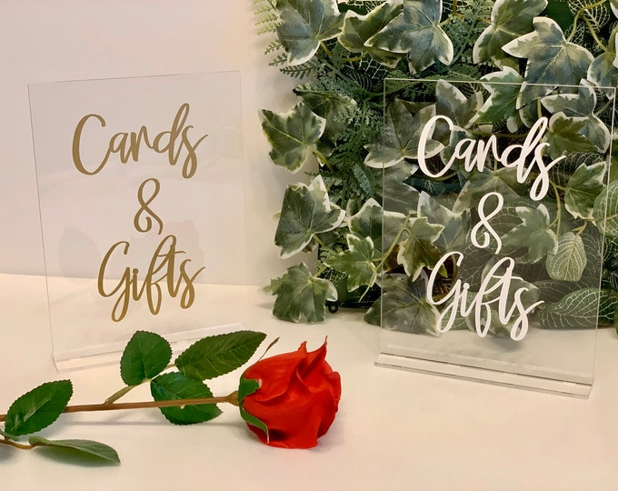Cards and Gifts Table Sign Freestanding Clear Acrylic Sign Wedding Reception Decorations Calligraphy Any Color Foil Print Any Font Boho Chic