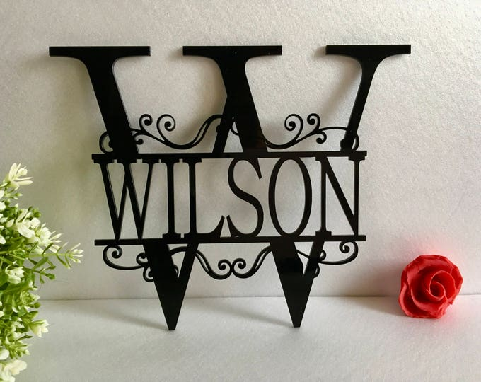 Split Letter Wall Monogram Sign Front Door Wreath Hanger Personalized Garden Metal Acrylic Family Last Name Outdoor Initial Wedding Gifts