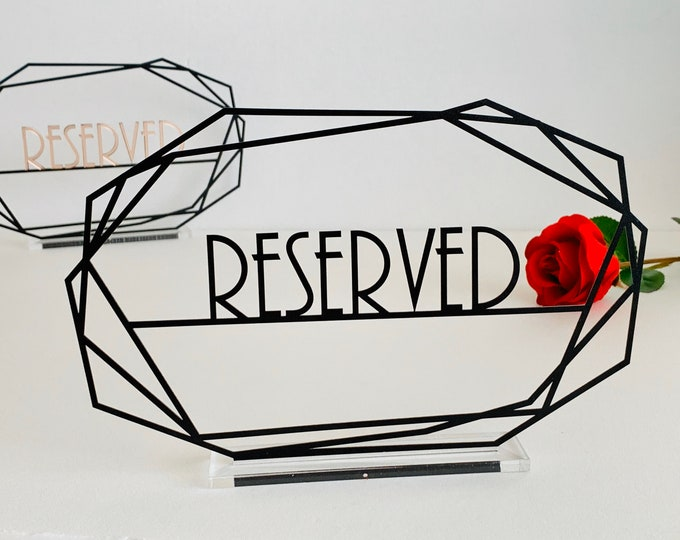 Reserved Wedding Table Metal Sign with Laser Cut Letters in Different Colors, Freestanding Table Centerpieces Restaurant Bar Reception Decor