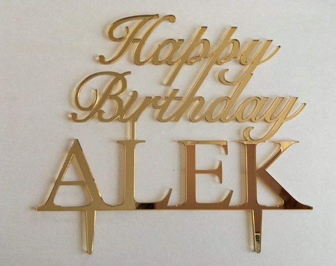 Happy Birthday Name Cake Topper Custom Gold Birthday Party Decoration Personalized Cake Topper with Name Cake decoration Kids Cake Topper