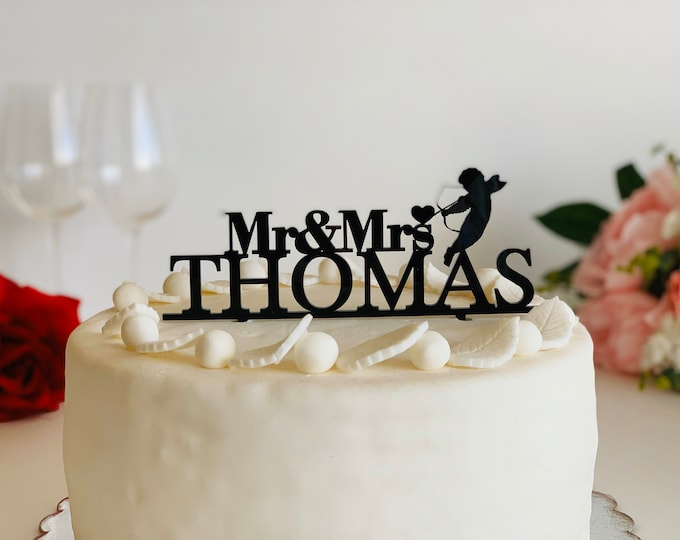 Personalized Mr and Mrs Cake Topper Angel Love Cake Topper Last Name Wedding Cake Decorations Cherub Angel Cupid Silhouette St Valentines