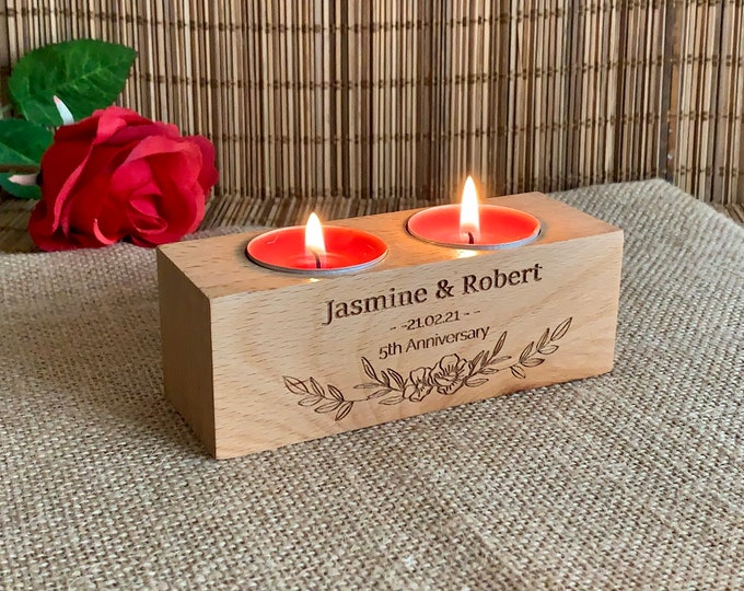 Personalized Anniversary Engraved Wooden Candle Holders Custom Names Rustic Wood Tealight Wedding Gift for Couples Home Decor Housewarming