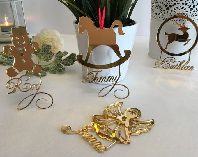 Personalized Christmas Bauble Small Christmas gift for Kids Christmas name tree ornament Reindeer Rocking Horse Gingerbread man Xmas angel